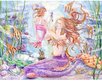 Mermaid Art Print, Mother and Child Angel Fish Mermaid with Angel Fishes, Seahorses in Coral Reef, 11x14in. art print