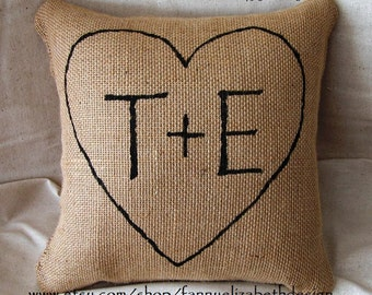 Burlap Pillow FREE SHIPPING-Pillow-Not Cover- Heart Pillow- Burlap Pillows- Valentine's Day Gift- Wedding Gift, Anniversary Gift