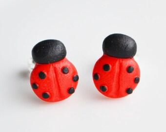 Ladybird Stud Earrings, Fimo, Polymer Clay, Ladybug