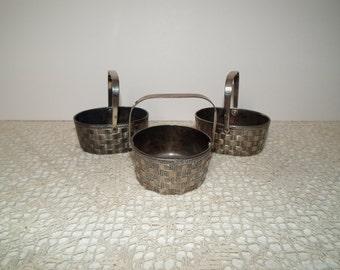 Three vintage miniature Raimond silverplate baskets marked Italy