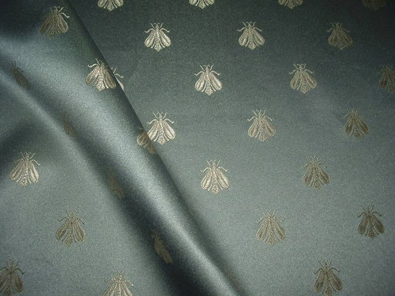 One Yard French Blue NAPOLEON BEE Damask Fabric