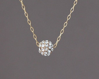 Small Gold Clear Ball Pave Crystal Necklace