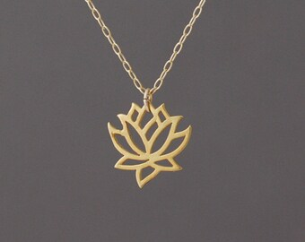 Gold or Silver Cutout Lotus Necklace