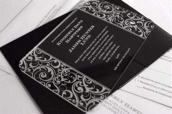 Engraved Acrylic Wedding Invitations - Scroll