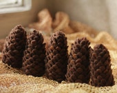 Five brown needle felted pine cones, eco-friendly decor for home