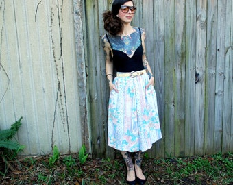 Vintage // 1990's Pastel Grunge Maxi Skirt with Pockets // Size S 12 // Alfred Dunner