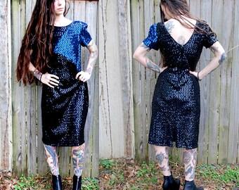 Vintage // 90's Glam Sequin Dress // Black Blue Metallic // Size M 13 // Shoulder Pads Rock n Roll