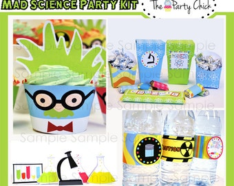 Crazy  Science,  Party Invitations & Decorations - Printable Party Kit - Editable Text you personalize at home - Instant Download