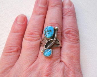 Vintage Turquoise Ring Southwestern Jewelry Sterling Silver Navajo