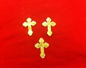 Set Of 24 Shiny Gold Cross Apliques
