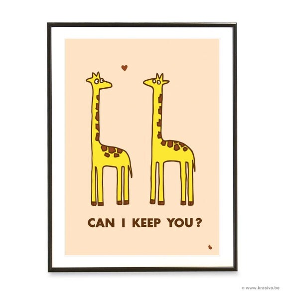 Cute giraffes in love quote poster heart giraffe pop art poster print - Can I keep you - A3