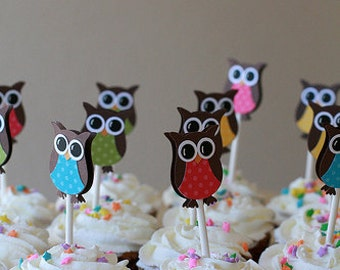 Owl Cupcake Toppers- Owl Birthday Party Decorations - Owl Party Decorations ..set of 12