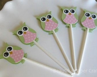 Pink and Green Owl Cupcake Toppers- Owl Baby Shower Decorations..set of 12