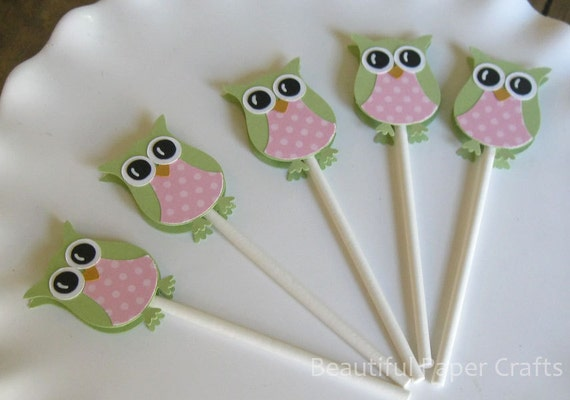 pink and green owl cupcake toppers owl baby shower decorations set