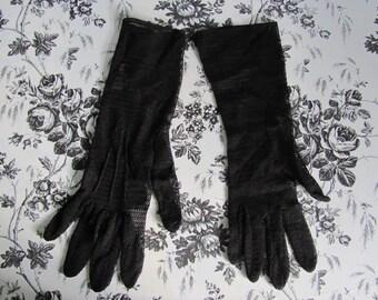 Vintage Womens Gloves Day Gloves Dark Chocolate Brown Zig Zag Nylon Mesh