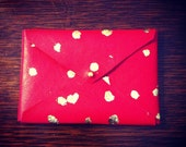 Red & Gold Leather Envelope Business Card Holder/Change