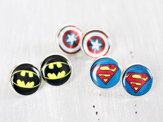Wedding earrings studs - set of 3 Bridesmaid gifts - Comic Superhero - Superman, Batman, Captain America