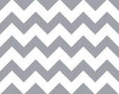 "IN STOCK - Gray Chevron on White Cotton Jersey Blend Knit Fabric - 1 yard, 59"" wide"