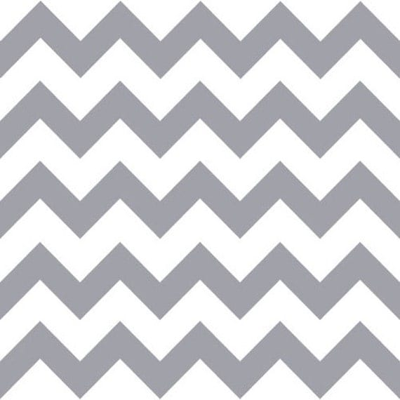 in stock gray chevron on white cotton jersey blend knit