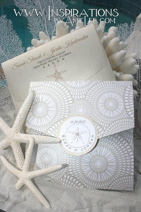 items similar to seashell wedding invitation - beach wedding on etsy, Wedding invitations