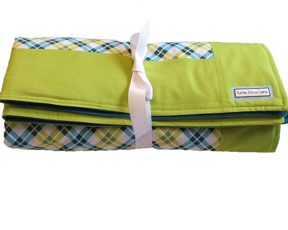 Teal and Lime Plaid Baby Blanket - Modern Nursery Blanket with Border