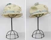 BLACK FRIDAY SALE / Vintage 1950s Hat / 50s Straw Hat / Cloche Hat