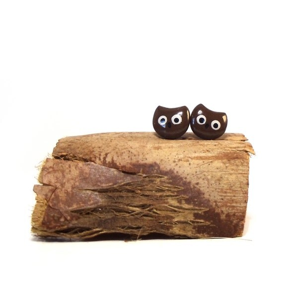 Owl Earrings - Tiny Brown Owls - Polymer Clay / Resin Post Earrings - Surgical Steel Studs - Hypoallergenic