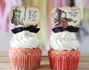 Alice in Wonderland Cupcake Toppers, Vintage, 12 toppers, Choose your ribbon color