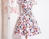 1950s Style  Bird Tea Dress