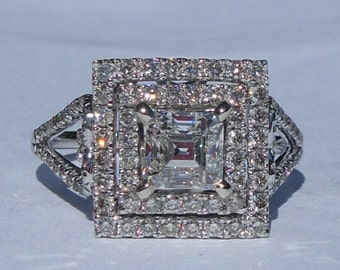 GIA Certified 1.54 Carat Diamond Engagement Ring 14kt Solid Gold W/ GIA Laser Inscription
