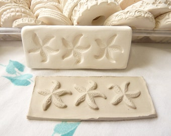 Clay Stamp Small Starfish Trio Pottery Press Mold Relief Mold or Sprig Mold Bisque Clay Stamp for Ceramic Decoration and Texture