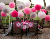 SALE SALE SALE 9 mix Jumbo & Ex Larges pink  and gray  tulle poms. Choose your colors