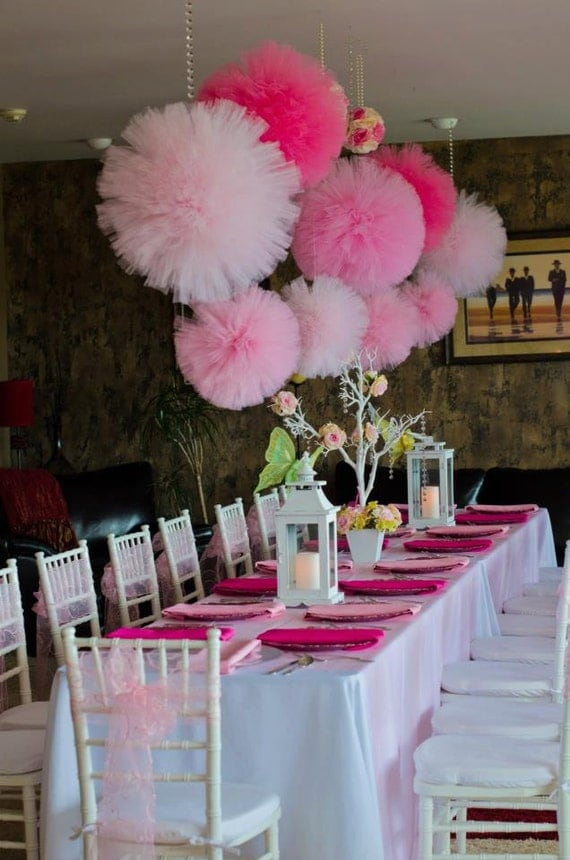 Items similar to tulle pom poms pink party girls for Baby girl birthday decoration pictures