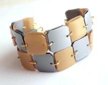 Geometric bracelet made of recycled plastic bottles square bracelet upcycled jewelry geometric cuff modern bracelet repurposed jewelry