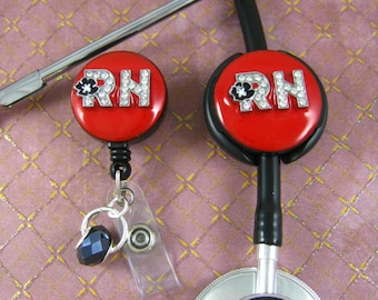 RED HOT - RN, Stethoscope Id Tag, Id Badge Reel, stethoscope, Nurse Jewelry, Stethoscope Cover, Badge Holder, Bling Badge