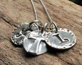 Personalized Hand Stamped Necklace for Mom Silver Initial Charm Necklace with Round Silver Cross Recycled Silver Metal Clay Jewelry