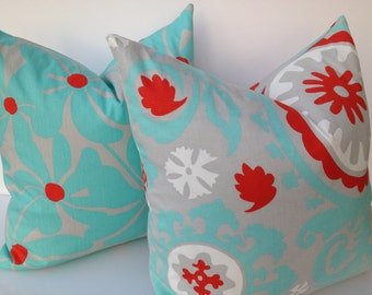 Suzani 20X20 Pillow Cover Home Decor Fabric-Red-Turquoise-Throw Pillow-Accent Pillow-Toss Pillow