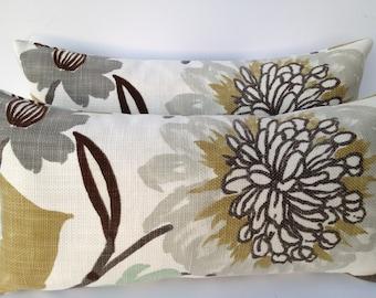 Braemore-BOTH SIDES-Floral Decorative Pillow Cover 10X20 Home Decor Fabric-Throw Pillow-Accent Pillow-Sofa Pillow-Toss Pillow