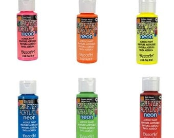 6 Piece Acrylic Paint Set - Neon Colors