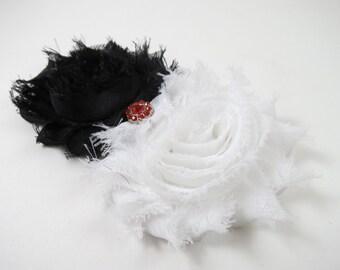 Black and White Flower Hair Bow - White Flower Hair Clip - White Shabby Hair Clip - Black Flower Clip - Black Shabby Clip - Black White Red