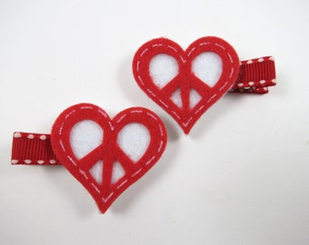 Valentine Heart Hair Clips - Red Hair Clips - Heart Hair Clip Set -  Red and White Hair Clips - Hair Clip Set - Valentines Day