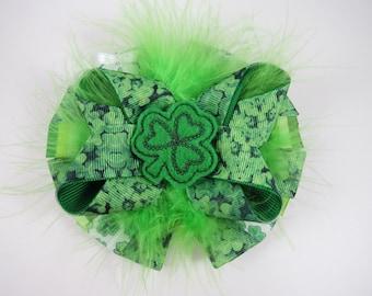 Shamrock Hair Bow - St Patricks Day Hair Bow - Green Hair Bow - St Pattys Day Hair Bow