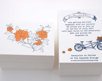 Letterpress Wedding Suite-Bicycle Built For Two
