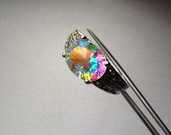 Stunning Opalescent Genuine Quartz in Sterling Silver Ring