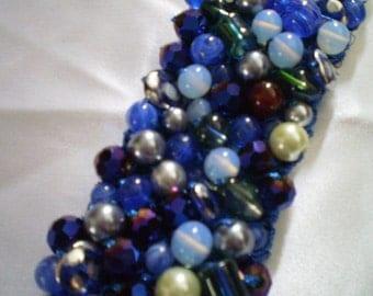 Royal Blue Knitted Beaded Bracelet, Glass Beads