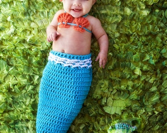 Crochet Mermaid Tail, Photo Prop Set - 12 to 18 months - Photography Prop, Cocoon