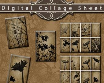 "1"" x 1.5"" Rectangular Botanical Floral Design Digital Collage Sheet - Black flower and tree branch"