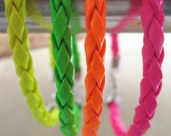 20pcs 4.0mm  7inches--9inches assorted Color Fluorescent color  faux braided leather with Lobster clasp bracelet