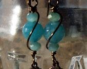 Aquamarine Miraculous Medal Earrings Blessed Virgin Mary