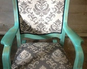 Beautiful, Professional, Refinished & Reupholstered Antique Solid Oak Rocking Chair